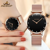 Top Luxury Brand Womens Rose Gold Watches For Lady Fashion Slim Ladies Watch Mesh Stainless Steel Dress Female Clock reloj mujer