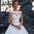 Vestidos de noiva sereia Ivory Wedding Dresses 2017 Scoop Cap Sleeve Sexy Princess Tulle Bridal Gowns With Sash Lace Appliques