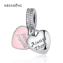 97289443f Authentic 925 Sterling Silver Bead Friendship Heart Hanging Charm Crystal  Pink Enamel Pendant Charms Fit Pandora