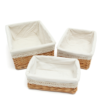 Multipurpose Rectangular Wicker Storage Basket with Removable Washable Liner Willow Woven Containers