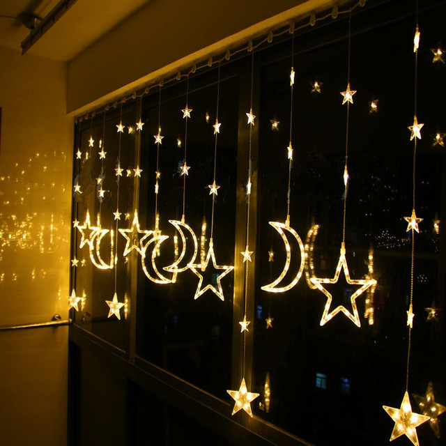 Fenster Weihnachtsbeleuchtung.Us 48 0 Led Weihnachtsbeleuchtung Restaurant Vorhänge Abgeschnitten Die Fenster Dekoration Sterne Mond Vorhänge Led Leuchten Lange 2 Mt Hohe 1