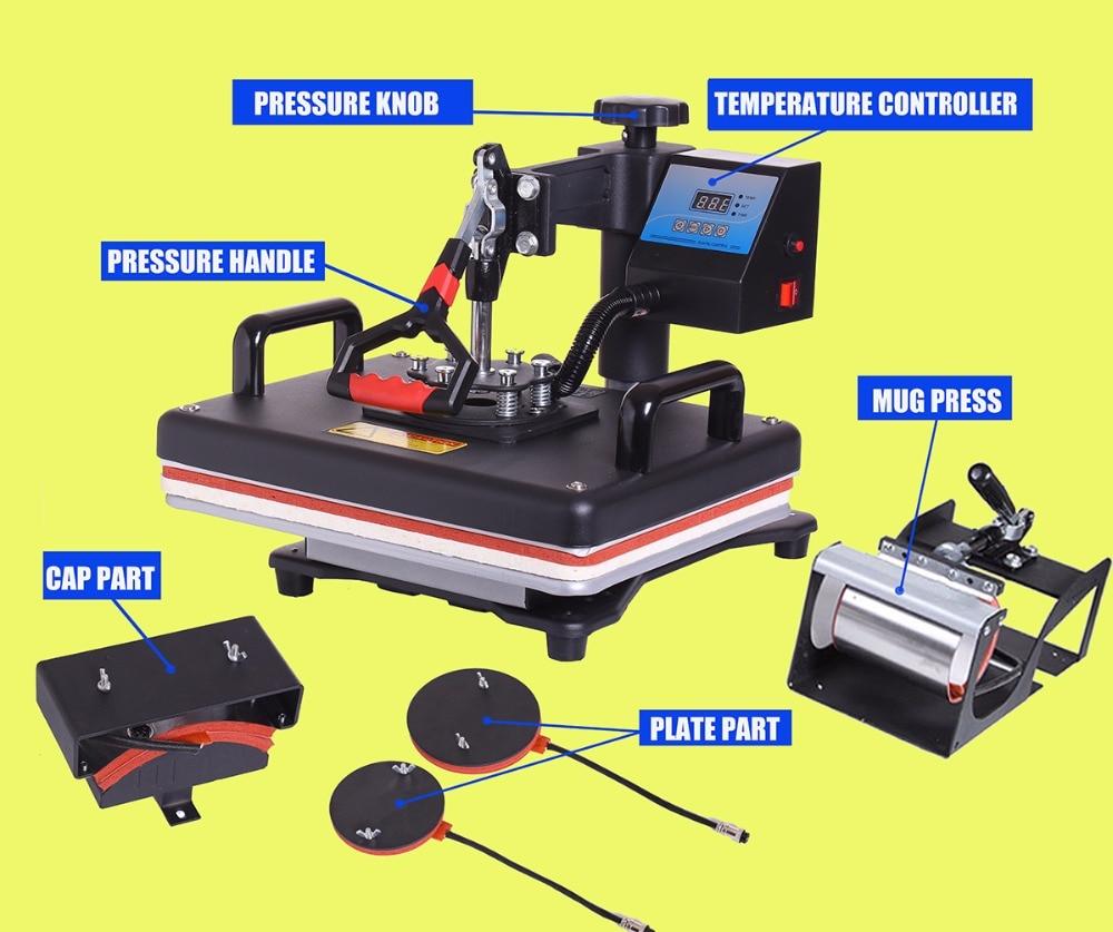 5 em 1 Imprensa do Calor/Sublimação Impressora Térmica Para Camiseta/Caneca/Cap/Casos de Telefone/calor transferência/Sublimação/Máquina Da Imprensa do Calor