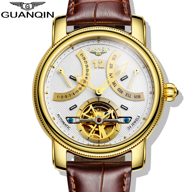2016 Luxury Brand GUANQIN Automatic Mechanical Watches Men Waterproof Luminous Watch Calendar Leather Gold Wristwatch edmond de goncourt quelques créatures de ce temps