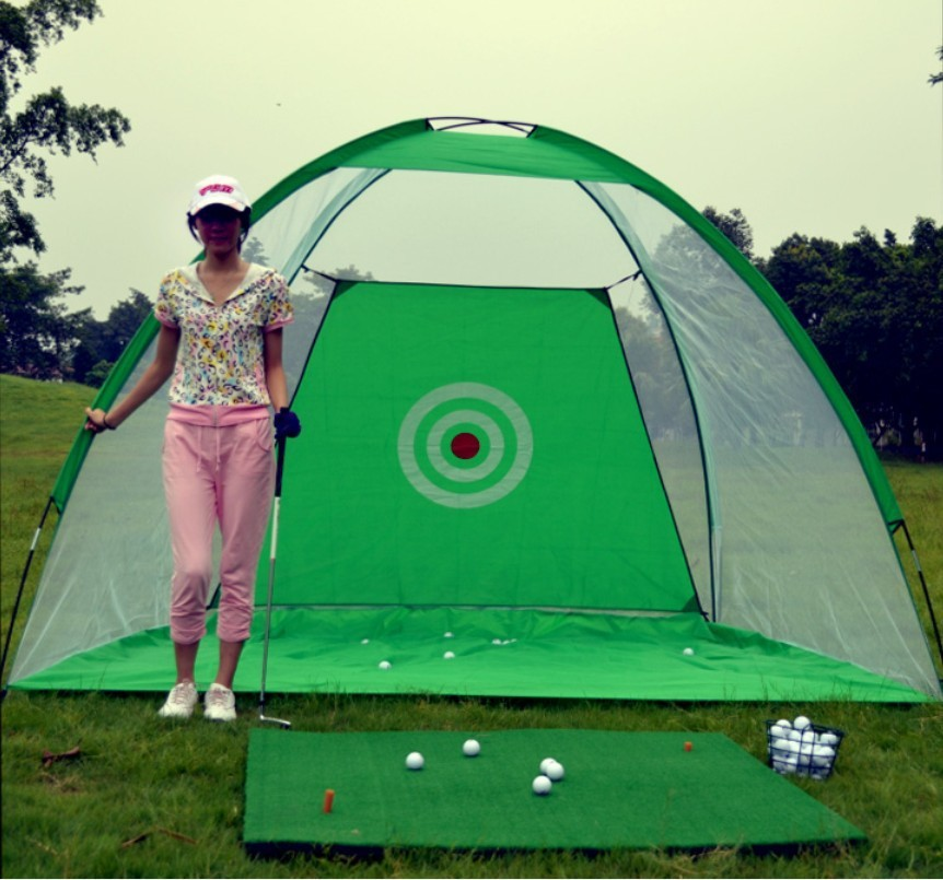 PGM Outdoor golf practice net Foldable Golf swing exerciser golf driving range Golf Swing Trainer Set two colours noinclude mats