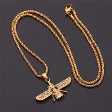 gold color Zoroastrian Farvahar Wing Necklace Pendant alloy Zoroastrianism Persian Achaemenian Men Jewelry necklaces