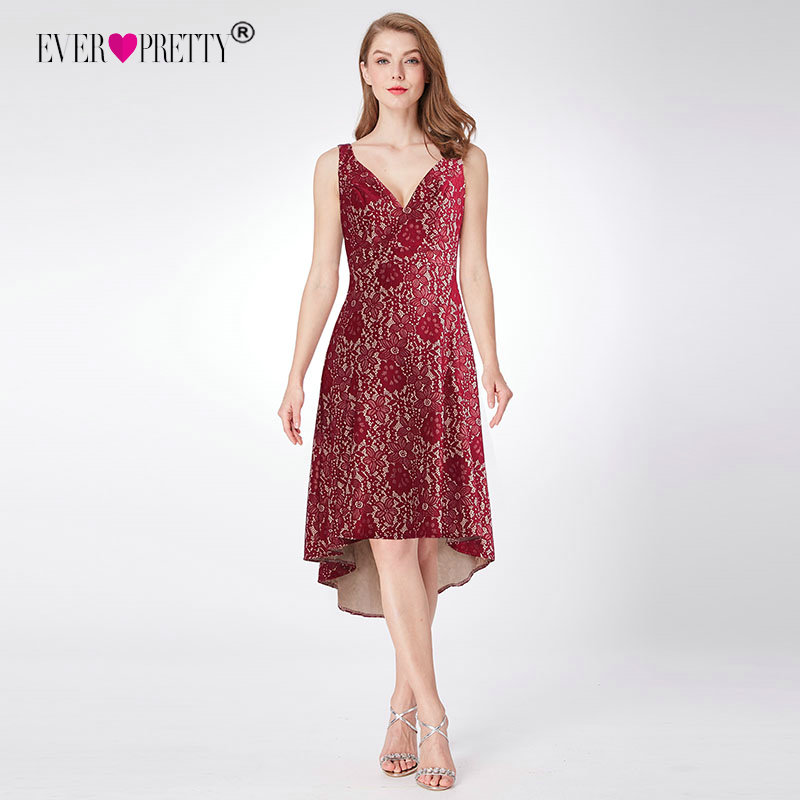 Cocktail     Dress   Women A-Line V Neck Short Lace Formal Party   Dresses   Ever Pretty EZ03043 Burgundy Knee Length Vestido   Cocktail
