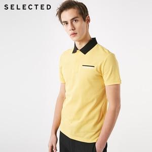 Image 2 - SELECTED homme été 100% coton col rabattu contrastant manches courtes Poloshirt S