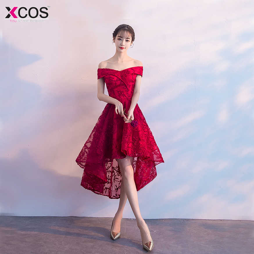 0ad6e63864e Cheap Graduation Dresses Mini Appliques Cocktail Party Gowns Tea Length  Short Front Red Lace Homecoming Dress