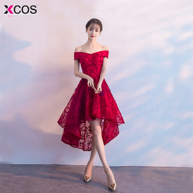 91a59e1d438 Cheap Graduation Dresses Mini Appliques Cocktail Party Gowns Tea Length  Short Front Red Lace Homecoming Dress 2018