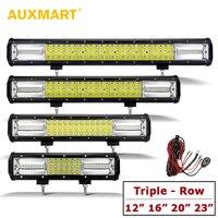 AUXMART 3 Row 12 16 20 23 LED Light Bar Slide Mount 12V 24V Offroad Driving Light ATV Work Lamp for Truck PickUp RZR 4X4 SUV