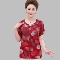 New Fashion Middle-aged Loose Big Yards Women Summer TopsT-shirt Printing Round Collar Short Sleeves High-gradeTopsT-shirtQ0192
