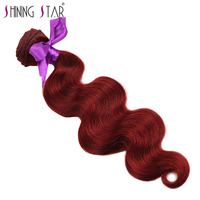 Bold Red 99J Brazilian Body Wave Bundles Human Hair Burgundy Weave Shining Star Hair Extension 10