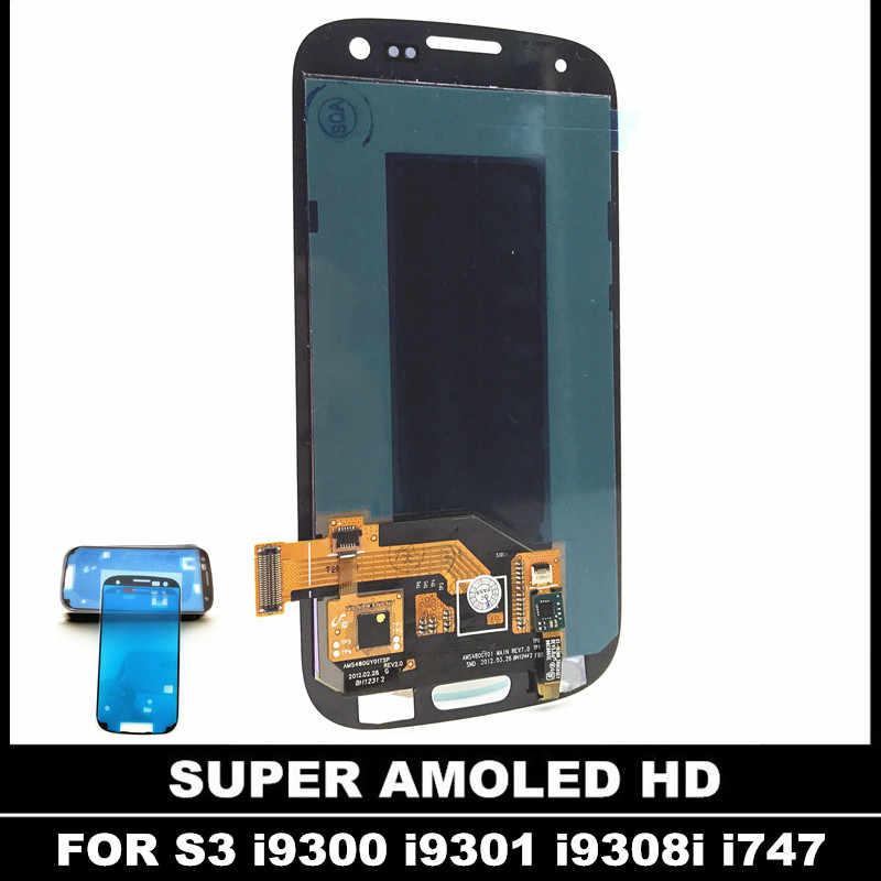 لسامسونج غالاكسي SIII S3 i9300 i9300i i9301 i9308i شاشة الكريستال السائل مجموعة المحولات الرقمية لشاشة تعمل بلمس اختبار AMOLED LCD استبدال