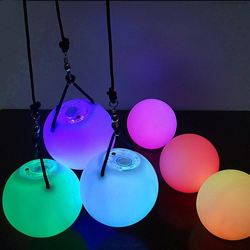 2018 LED Thrown Balls Light Multi-Colored POI Glow Thrown Balls Light Up For Belly Dance Hand Props
