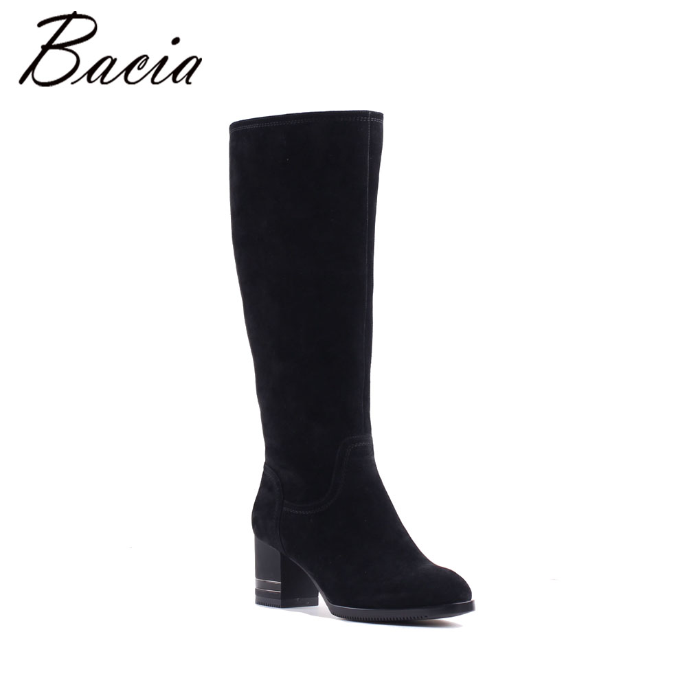 Bacia Autumn Winter Women Knee-High Boots New Fashion Sheep Suede Boots Warm Wool Fur Girls LadY Snow Boots Quality Shoes MB011 bacia winter fashion women s boots genuine leather sheep suede snow boots classic wool fur warm high heels ankle shoes sb103