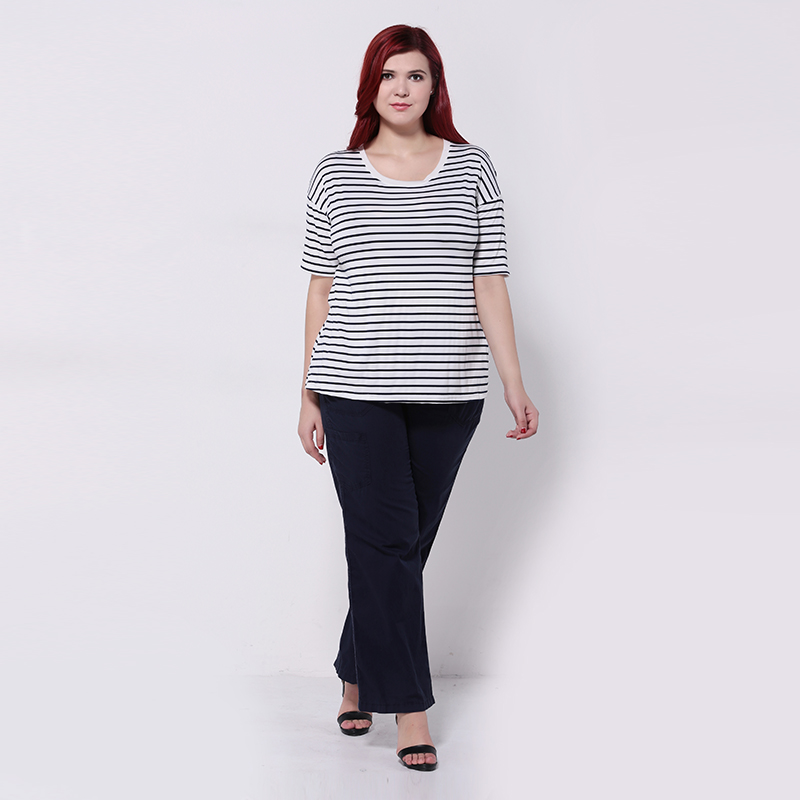 4518e4088 Kissmilk Plus Size New Fashion Women Short Sleeve O-neck Big Size Casual  Black and White Stripes T-Shirt 3XL 4XL 5XL 6XL
