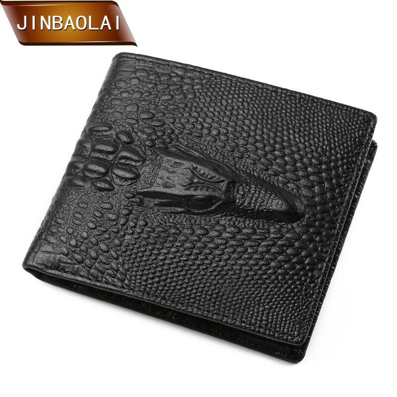 JINBAOLAI férfi pénztárca divat 3D krokodil valódi bőr pénztárca Bifold design kártya tartó pénztárca érme zseb carteira