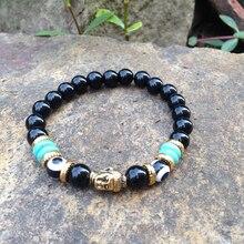 SN0370 самый популярный мужской золотой браслет Будда голова браслет, модные браслеты мала-Йога камень браслет из бисера