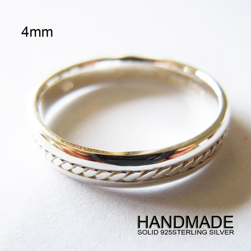 Wellmade Solid 925Sterling Silver 4mm Rope Band Ring