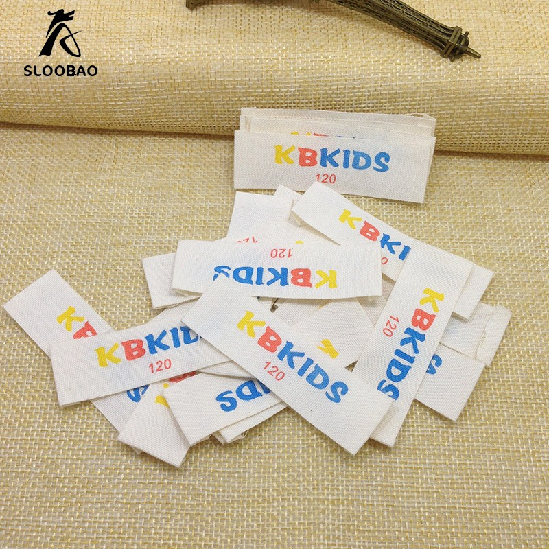 Screen Printing Cotton Weaving edge ribbon Necklace Labels Customization Clothing Label fabric clothing trademark Discoloration in Garment Labels from Home Garden