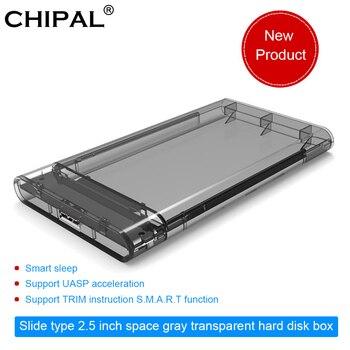 """CHIPAL alta velocidad 2,5 """"caja transparente USB 3,0 SATA caja unidad de disco duro HDD disco duro externo Caja de Herramientas soporte 2TB SDD Caddy"""
