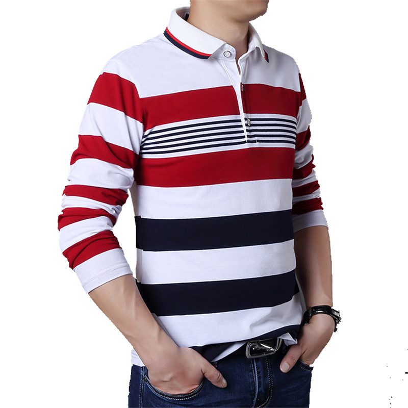 Image 4 - TFETTERS Autumn Casual Men T shirt White and Red Stripe Pattern Fitness Long Sleeve Turn down Collar Cotton Tops Stripe Clothes-in T-Shirts from Men's Clothing