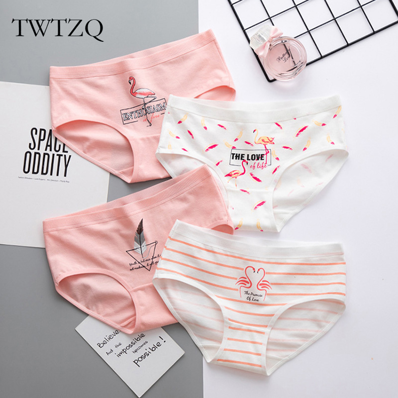 TWTZQ Women's   Panties   Cotton Female Briefs Fashion Girl Lingerie Flamingo Print Breathable Sexy Underwear Women Intimates