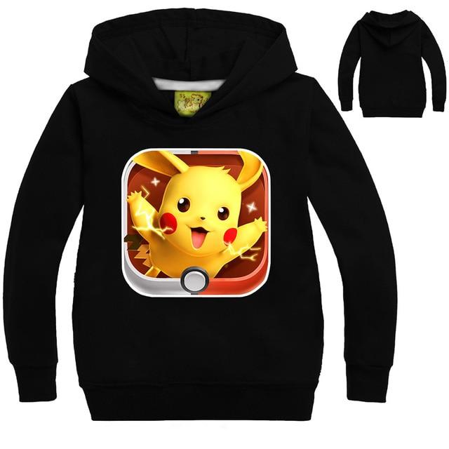 Children Pure Cotton Hoodies Sweatshirts Long Sleeve Spring Autumn Cartoon Print Pokemon Pikachu Children's Clothing HOT SALE