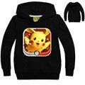 Niños Puros Del Algodón Sudaderas con capucha de Manga Larga Primavera Otoño Impresión de la Historieta Pokemon Pikachu ropa Para Niños VENTA CALIENTE