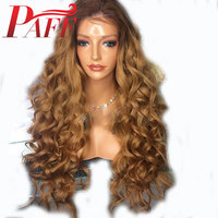 PAFF Blonde Lace Front Human Hair Wig with Natural Hairline 180 Density Pre Plucked 27# Ombre Color Lace Wig Malaysia Remy Hair