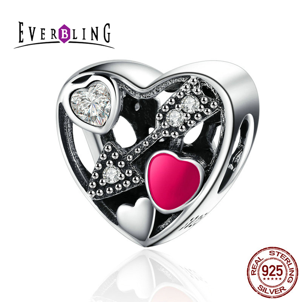 Clear CZ Unique Arrow Struck by Love 100% 925 Sterling Silver Charm Beads Fit Pandora European Charms Bracelet S