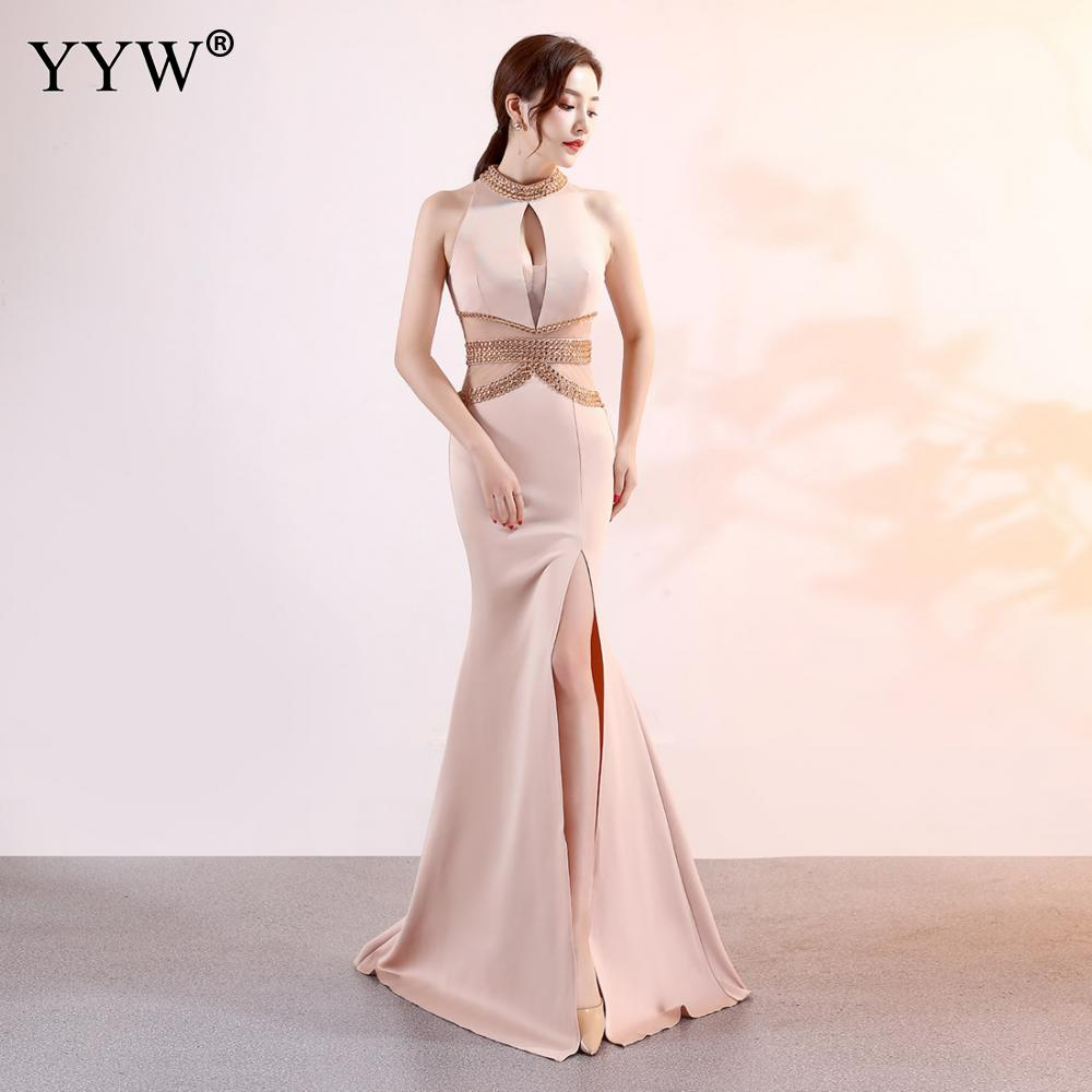 2019 Sexy Halter Crystal Beaded Bust Waist Mermaid Dress Mesh Hollow Out Split Night Club Evening Dress Elegant Party Long Dress