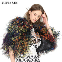 Real Ostrich Feather Women Shawl Colorful Female Cape Winter Solid Real Fur Luxury Girls Outwear For