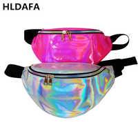 Hldafa novo holográfico fanny pacote de cintura a laser pacotes heuptas hip saco de cintura feminina sacos de banana saco de cintura unissex bolso cintura