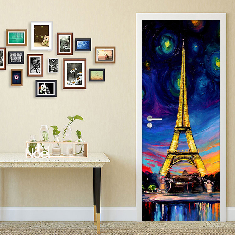 Abstract Hand Painted Paris Tower Art Wall Mural Door Sticker Living Room Study Room PVC Waterproof Self adhesive Door Wallpaper|Door Stickers| |  - title=