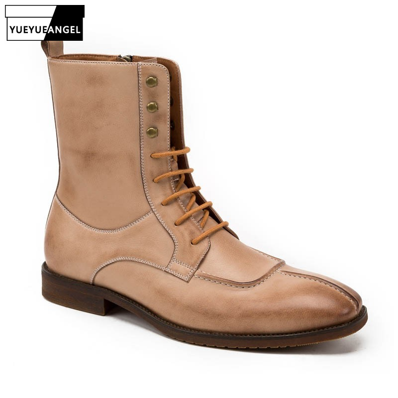 2019 New Square Toe Men Riding Boots High Quality Genuine Leather Shoes Pesonality Rivet Lace Up Ankle Boots Motorcycle Footwear2019 New Square Toe Men Riding Boots High Quality Genuine Leather Shoes Pesonality Rivet Lace Up Ankle Boots Motorcycle Footwear
