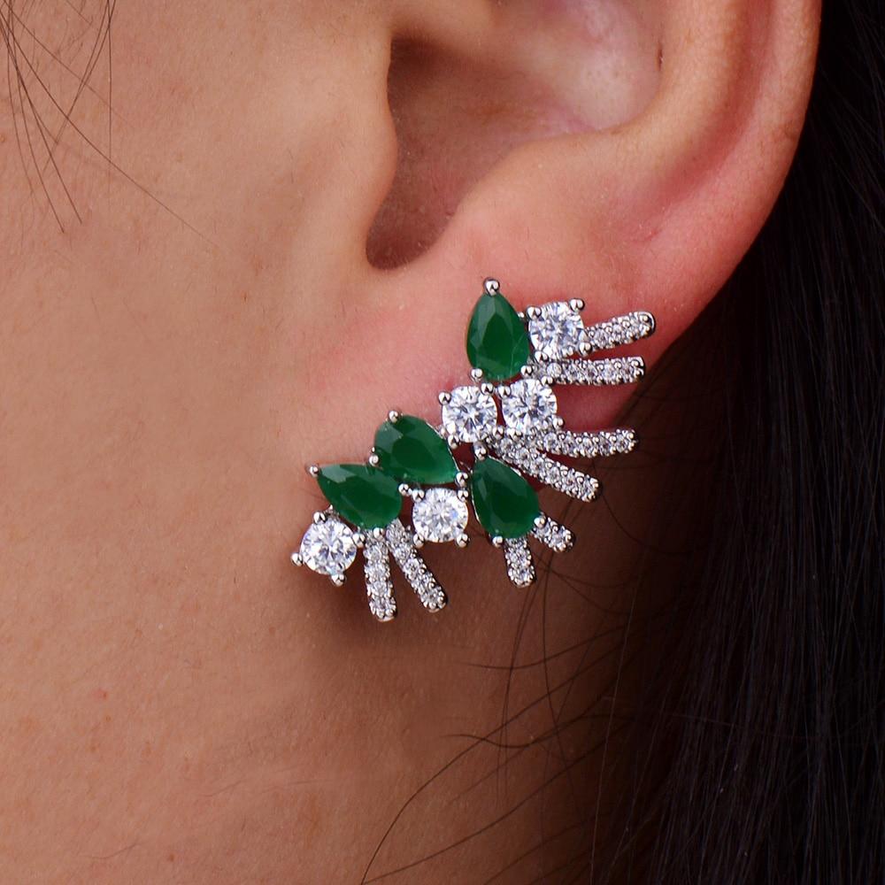 GODKI Brand New Fashion Popular Luxury Flower Crystal Zircon Stud Earrings Fashion Jewelry for Women 1.2cm*2.2cm pair of stylish double end faux zircon rhombus flower stud earrings for women