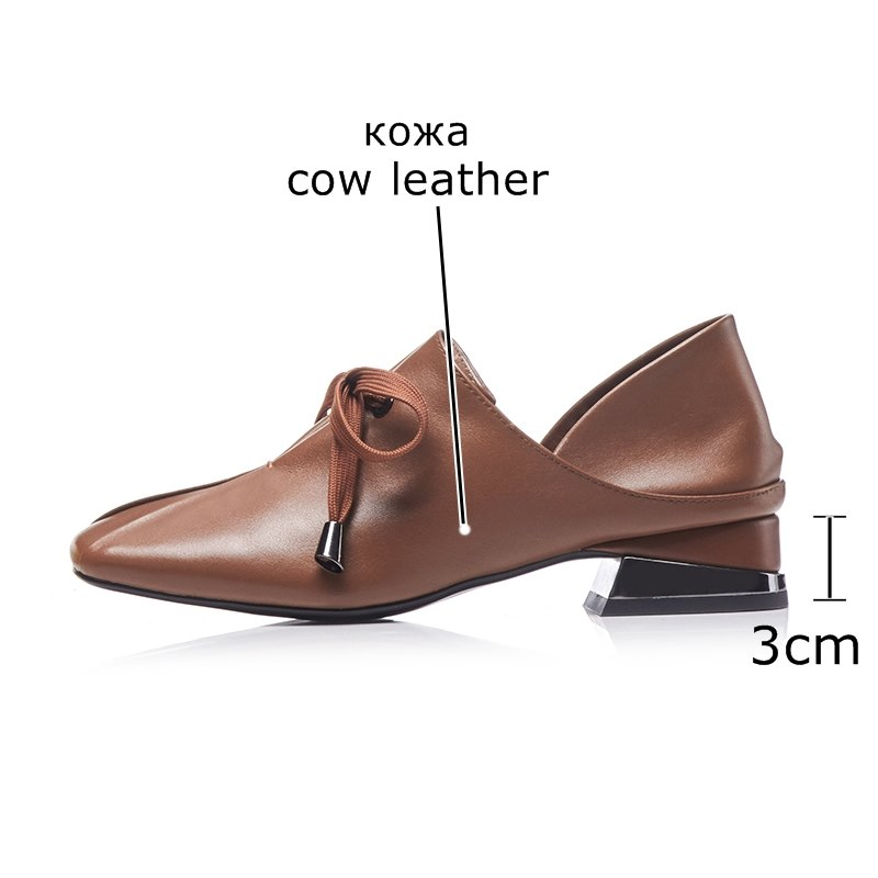 ALLBITEFO EURO formato 34 43 di nuovo di marca delle donne del cuoio genuino scarpe tacchi ragazze di moda punta quadrata scarpe tacco basso donna scarpe da lavoro-in Pumps da donna da Scarpe su  Gruppo 3