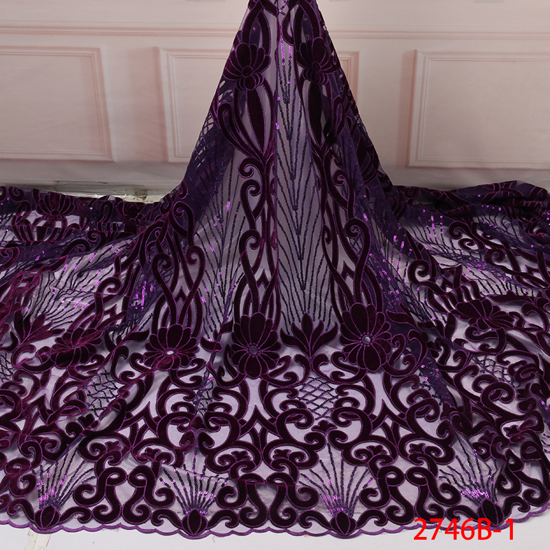 2019 African Velvet Lace Fabric New French Net Lace With Sequins High Quality Nigerian Mesh Tulle Lace Fabric Purple KS2746B-1