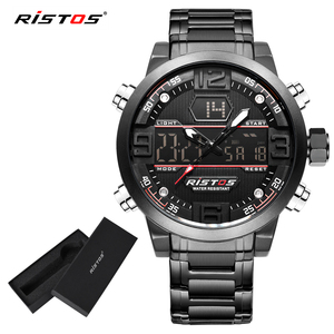 Ristos Multifunction Stainless Steel Analog Men Sports Watches Male Chronograph Digital Wristwatch Relojes Masculino Hombre 9338(China)