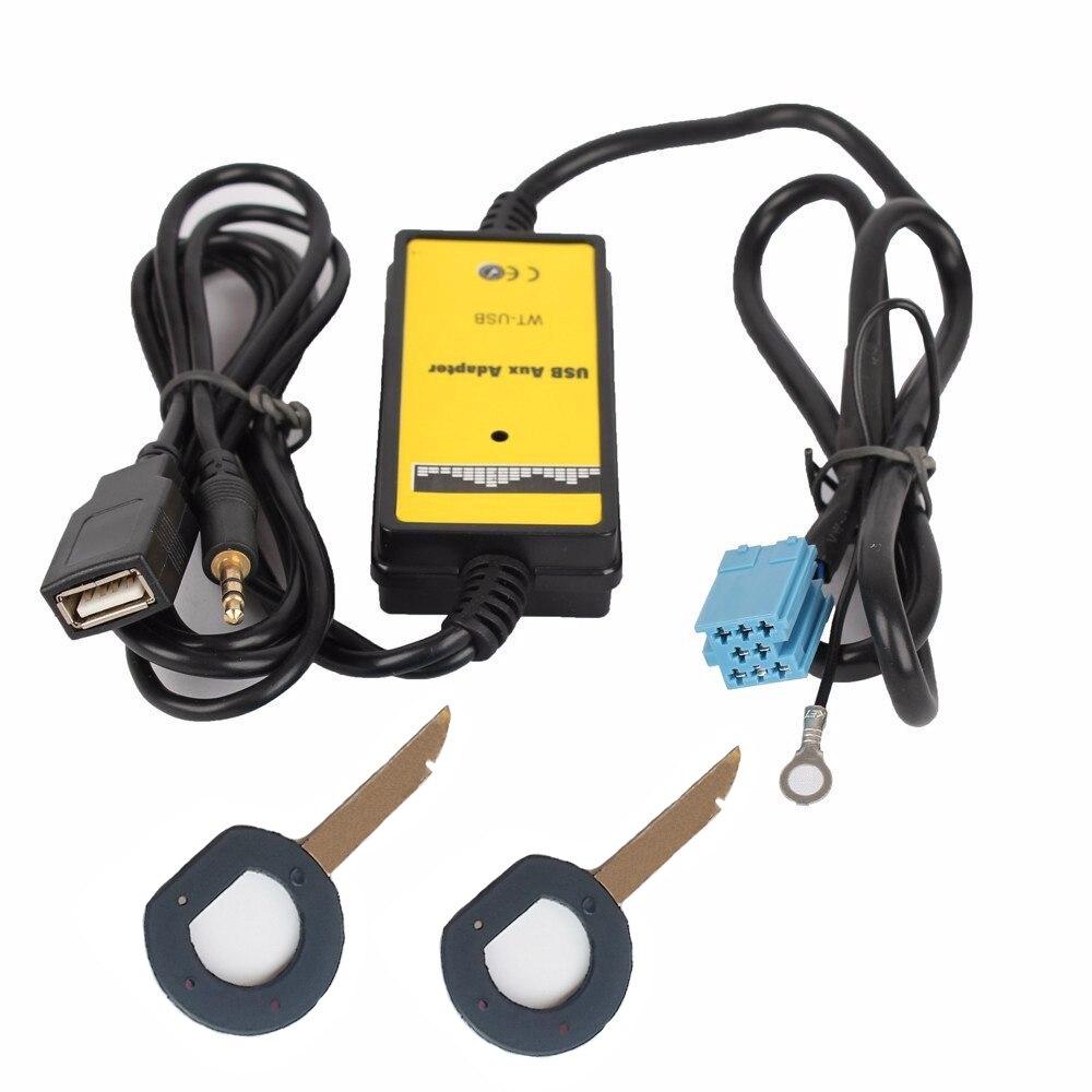 imágenes para Radio estéreo Cable de Extensión de Audio AUX USB ISO Adaptador De Conector de $ Number Pines para Volkswagen VW Passat Escarabajo Skoda