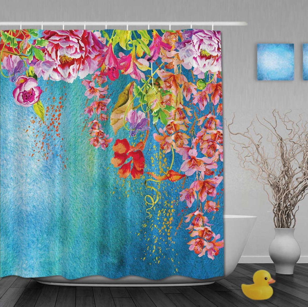 Yellow and blue shower curtain - Custom Watercolor Beautiful Red Floral And Blue Pattern Background Shower Curtains Waterproof Fabric With Hooks Bathroom