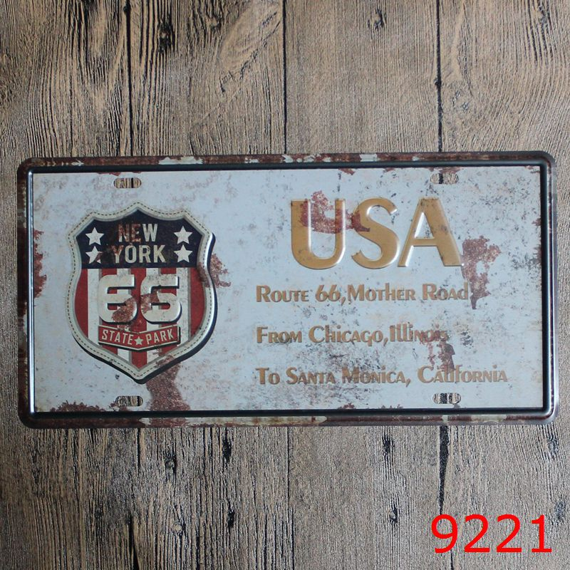 Vintage Iron Painting plaques & signs Wall Sticker Signage Hotel restaurant wall decoration 6X12 inches