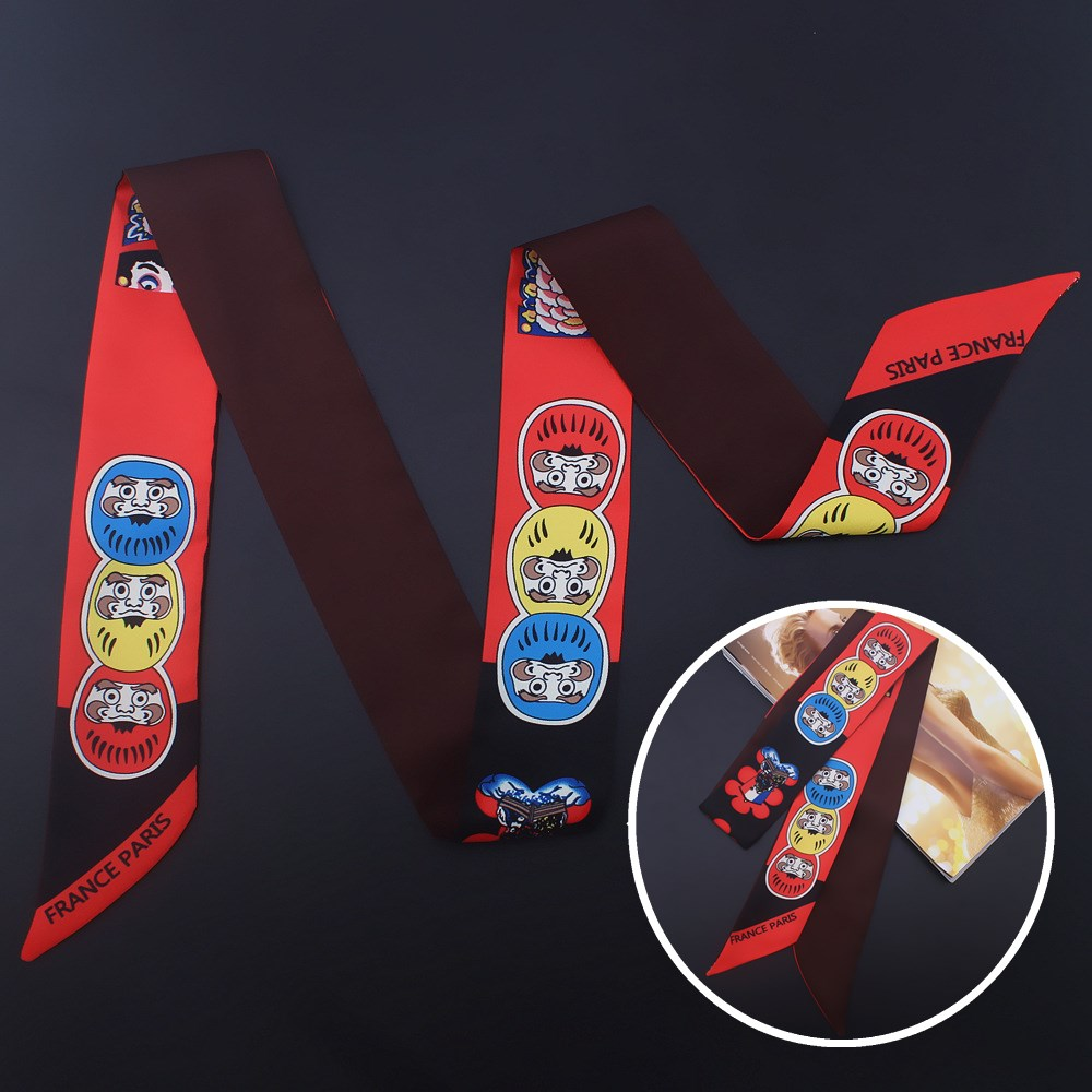 LEAYH Brand Vintage Twill Silk Print Long Scarf Handle Bag Small Ribbons Women Fashion Imitation Silk Head Neck Skinny Scarves in Women 39 s Scarves from Apparel Accessories