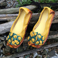 Dropshipping Mother's Flat Shoes Elegant Ethnic Design Hand-Made Genuine Leather Shoes Soft Women Fashion Shoes Girl Flats C080