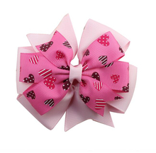 Adogirl 10pcs Valentine Hair Bows Love Heart Print Pink Clips Ribbon Handmade Boutique Accessories Cheap Hairgrips