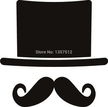 New Stickers 8 Colors Hat and Moustach Car Window Sticker For Truck Bumper Auto SUV Door Laptop Kayak Vinyl Decal