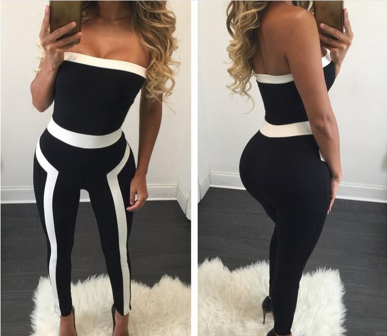 free shipping 2017 Sexy wrapped chest splicing jumpsuits stripe cultivate one's morality women fashion jumpsuits black SIZE S-XL