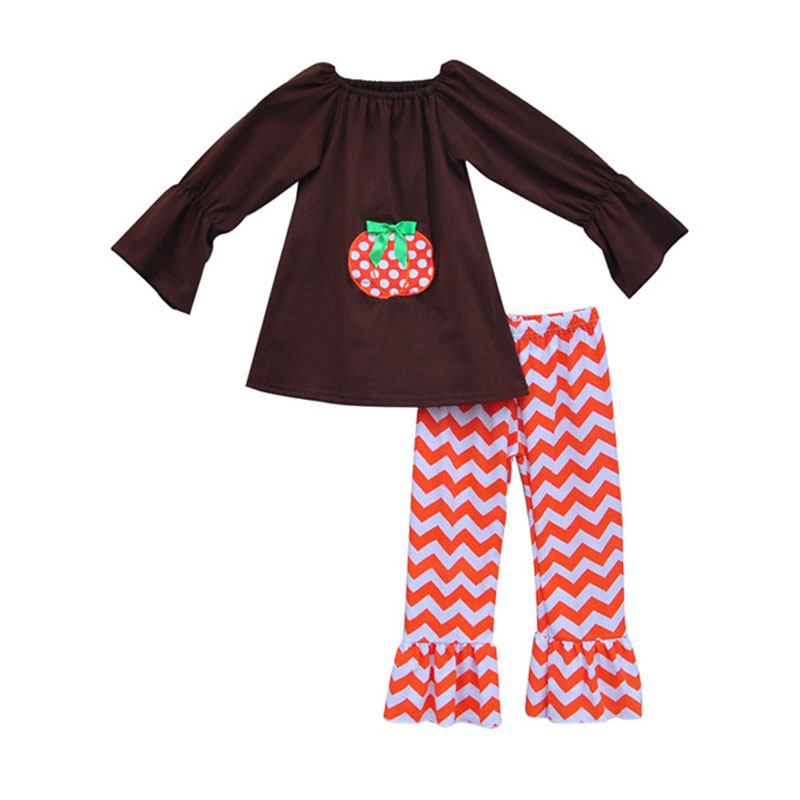 Drop Ship Girls Clothing Sets Cute Pumpkin Pullover Tops Orange Chevron Ruffle Pants Knitted Cotton Halloween