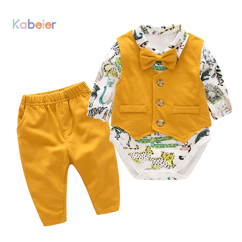 Baby Newborn Boy Clothes Sets Birthday Gift Boys Baby Romper Vest Tops Long Pants 3Pcs Outfits Set 0-24M Boys Clothes Romper 2018 spring newborn baby boy clothes gentleman baby boy long sleeved plaid shirt vest pants boy outfits shirt pants set